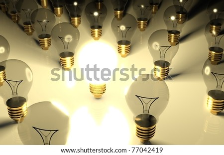 3d one glowing light bulb and the other light bulbs in rows - stock photo