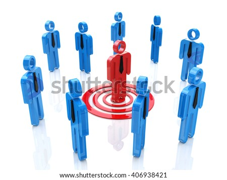 3d one unique red man targeted among the crowd.3D Illustration - stock photo