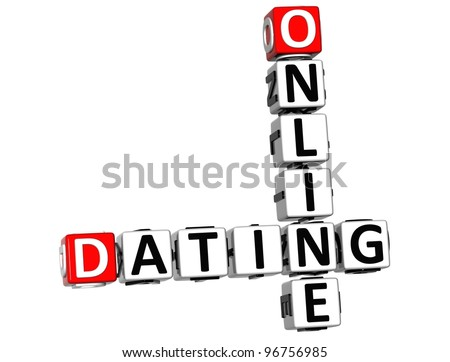 3D Online Dating Crossword cube words on white background - stock photo