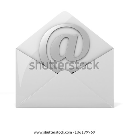 3d online email  on white background, concept - stock photo