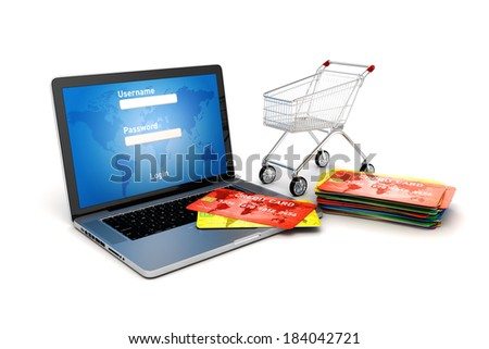 3d online shopping concept - stock photo