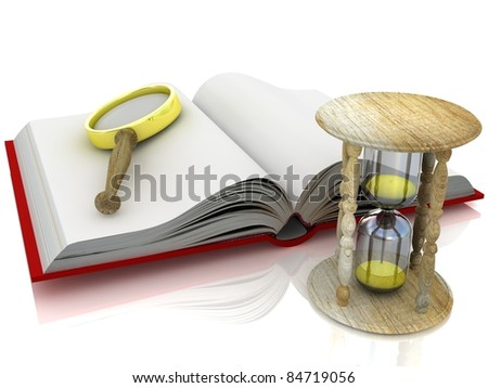 3d open book with a hourglass and magnifier on white background - stock photo