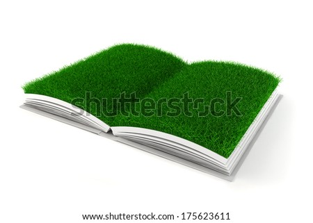 3d open book with grass paper - stock photo