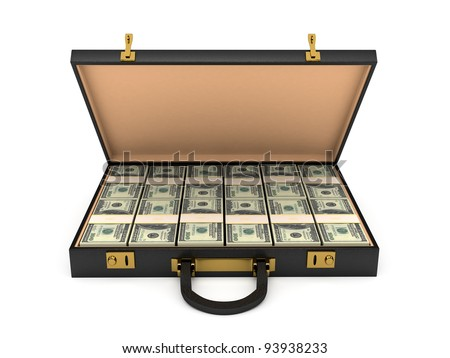 3d open case with money - stock photo