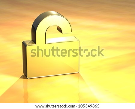 3D Open Padlock Gold Sign over yellow background
