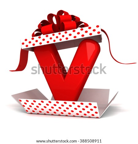 3d Open surprise gift box inside V letter alphabet rendering with red ribbon and polka dots  - stock photo