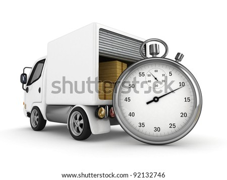 3D Open White Van with Stopwatch isolated - stock photo