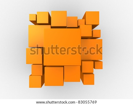 3d orange abstract background - render illustration - stock photo