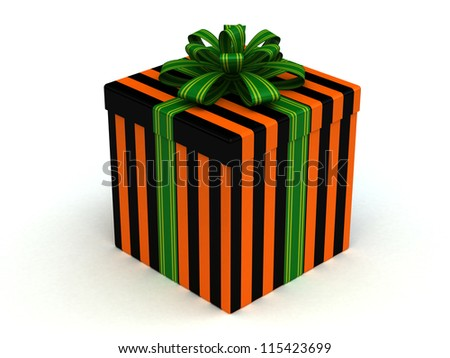 3D orange-black Gift christmas box with green bow on the white - stock photo