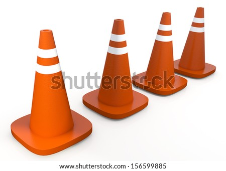 3d orange cones with clipping paths, work paths includes  - stock photo