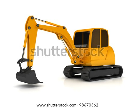 3d orange digger working on white background