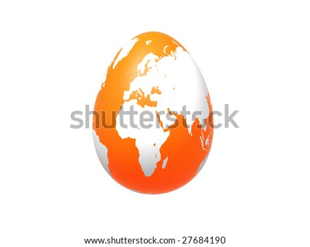 3d orange egg with earth texture over white background, isolated