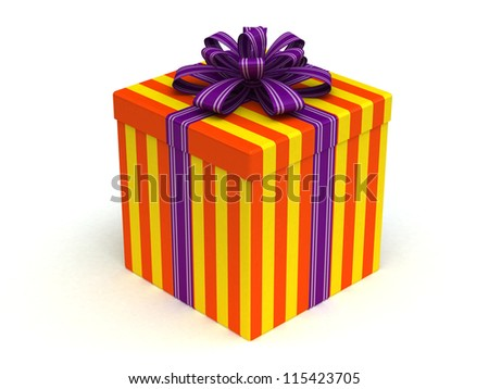 3D orange Gift christmas box with lilac bow on the white - stock photo