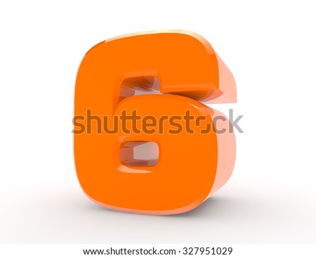 3d Orange number 6 on white background 3d rendering - stock photo