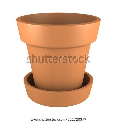 3D Orange Pot Isolated on White Background - stock photo