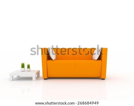 3d orange sofa isolated in white - stock photo