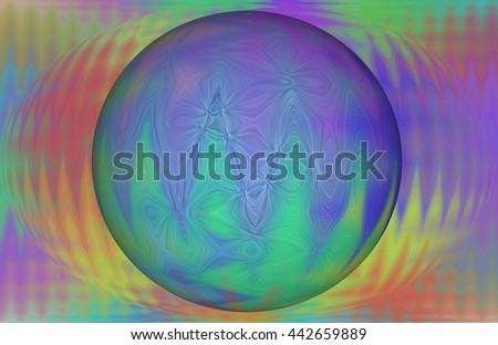3d Orb Rainbow red orange yellow green blue violet purple flames psychedelic space illustration waves of colorful design pattern  - stock photo