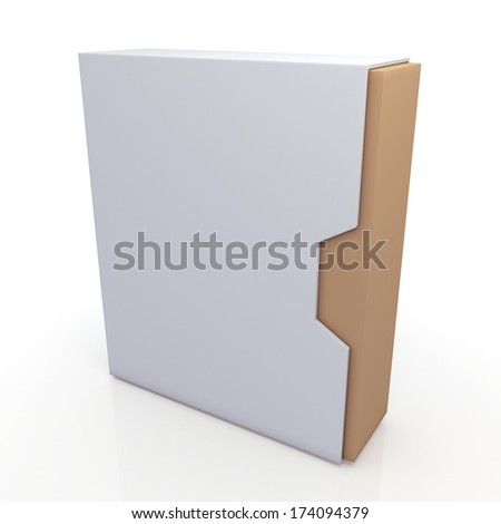 3d original brown and clean white box dovetail option container blank template in isolated background with work paths, clipping paths included  - stock photo