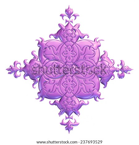 3D ornament design on isolated white background. - stock photo