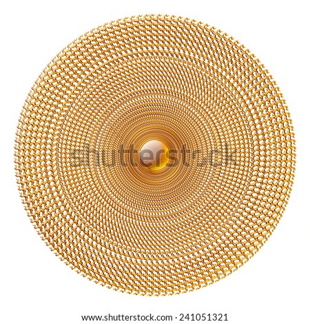 3D Ornamental round pattern on white background. - stock photo