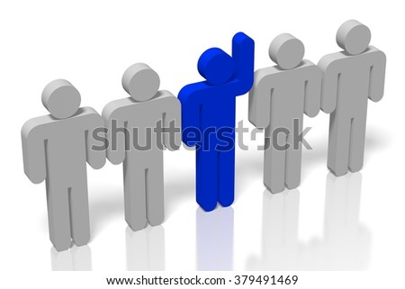 """3D """"out of the crowd"""" concept. - stock photo"""