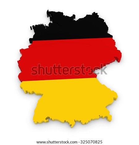 3D Outline of Germany textured with the German Flag