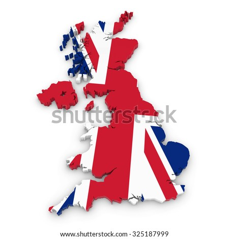 3D Outline of the United Kingdom textured with the Union Jack Flag