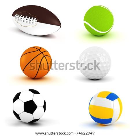 3d pack render - sport balls - stock photo