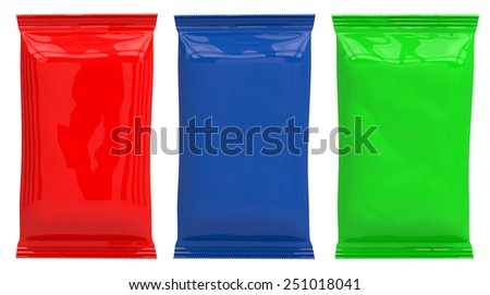 3D packaging red, blue, green - stock photo