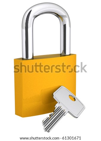 3D padlock and key - isolated over a white background - stock photo