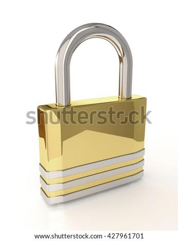 3D padlock isolated over white background - stock photo