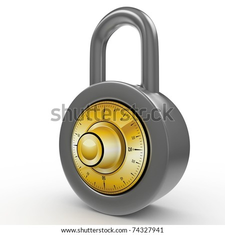 3d padlock with code isolated on white