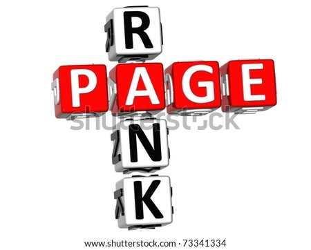 3D Page Rank Crossword on white background - stock photo