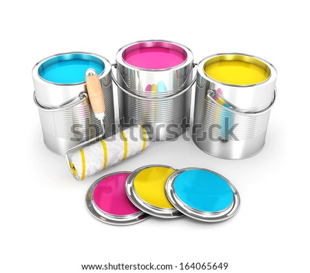3d paint cans and roller brush, isolated white background, 3d image - stock photo