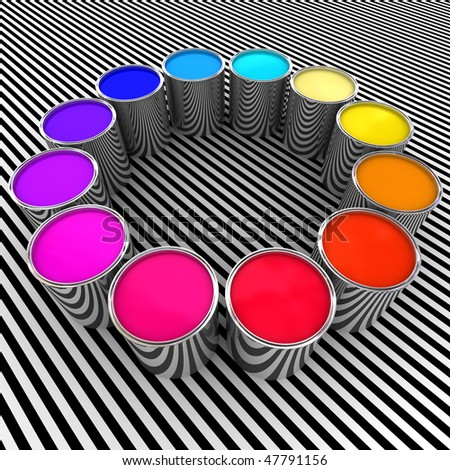 3d paint color and metal can background - stock photo