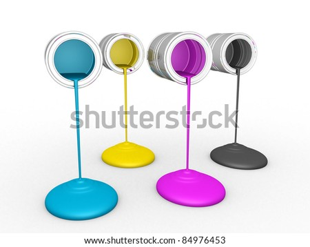 3D Paint Dripping - CMYK - stock photo