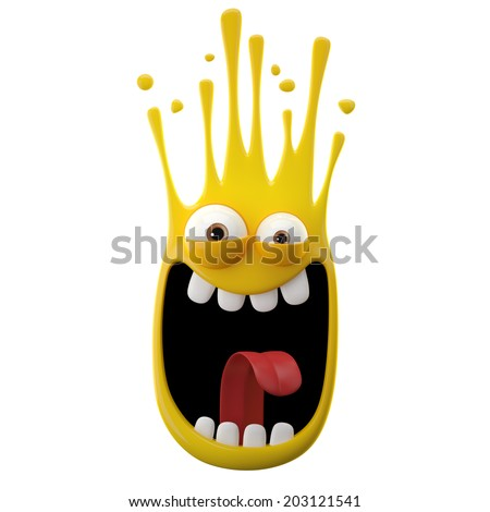 3D paint object, falling drop, color splash character, funny bacteria - stock photo