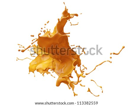 3D paint splash isolated on white background - stock photo