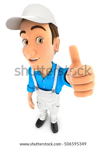 3d painter positive pose with thumb up, illustration with isolated white background