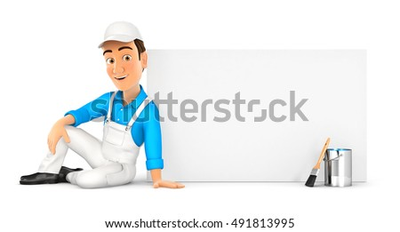 3d painter sitting next to blank wall, illustration with isolated white background