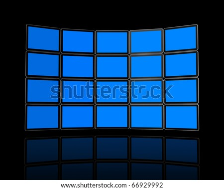 3D panel / Wall of flat tv screens, isolated on black. With 2 clipping paths : global scene clipping path and screens clipping path to place your designs or pictures. - stock photo