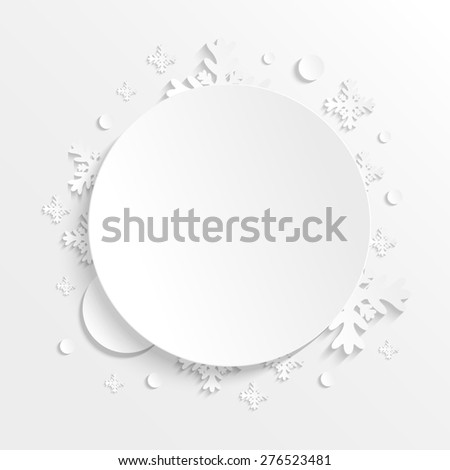 3D paper background with snowflakes with place for text. Winter raster version illustration. Christmas background. - stock photo