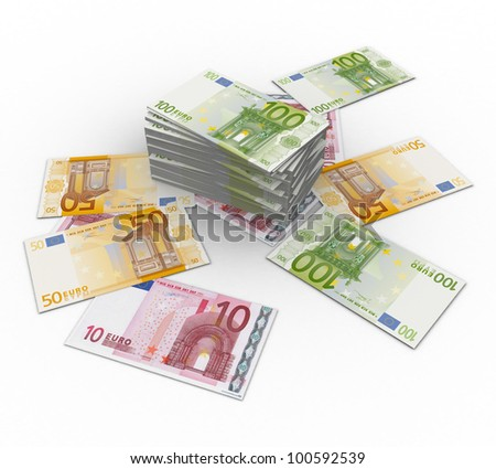 3d paper currency the euro on a white background isolated