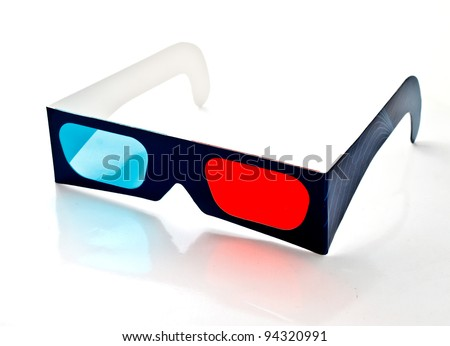 3D paper glasses on white background - stock photo