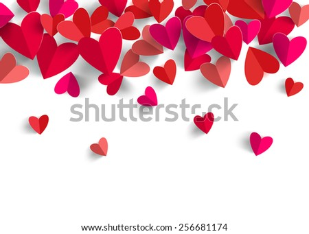 3D Paper Heart Isolated In White Background. Greeting Card. Illustration  Format.  Greeting Card Format