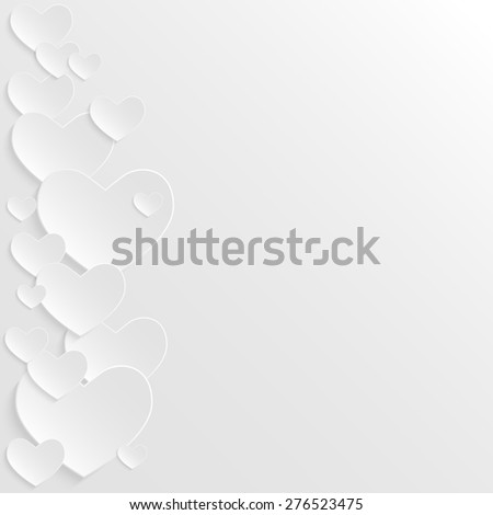 3D paper hearts. Abstract raster version illustration. White background with place for text. - stock photo