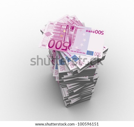 3d paper money 500 euro on a white background isolated