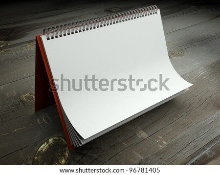 3d paper texture in blank calendar on table - stock photo