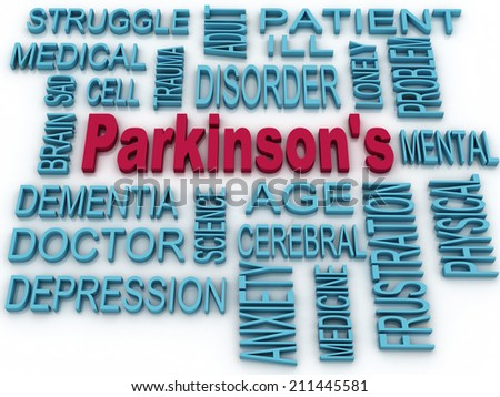 3d Parkinson's disease symbol isolated on white. Mental health symbol concept  - stock photo