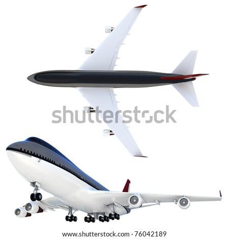 3d passanger collection plane isolated on white background - stock photo